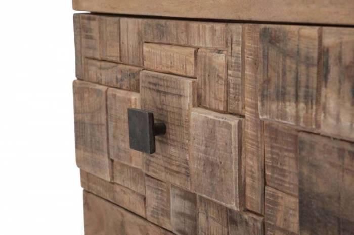 Comodă Mumbai, 77x85x40 cm, lemn de acacia/ metal, maro/ negru