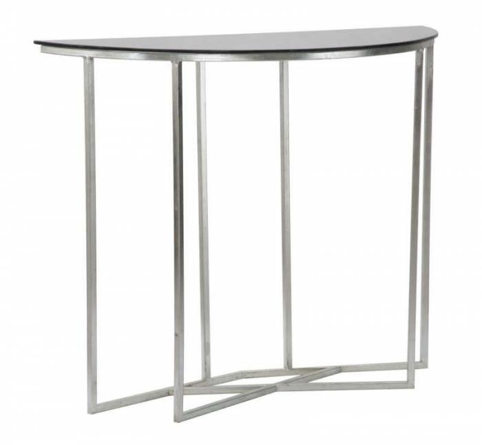 Consolă Oslo, 80x100x40 cm, metal/ sticla, argintiu/ negru