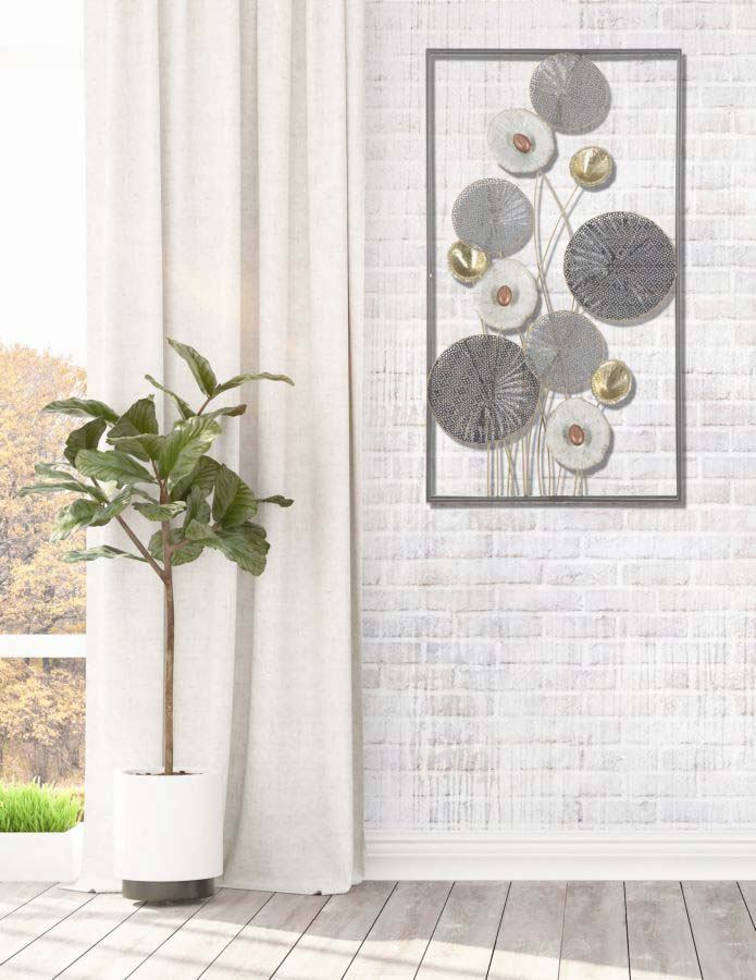 Decorațiune de perete Grid, 90,5x50x6 cm, metal, multicolor