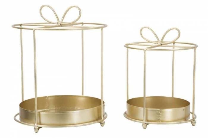 Decorațiune Gift, 29/24x22/8x22,8 /17,7 cm, metal, auriu