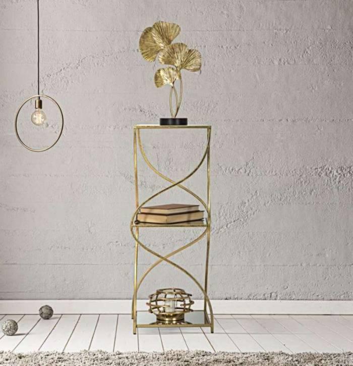 Etajeră Twisty, 80x30x30 cm, metal/ mdf/ sticlă, auriu