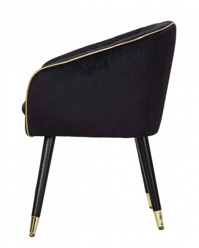 Fotoliu tapițat Paris, 78x62x58 cm, lemn de pin/ metal/ poliester, negru/ auriu