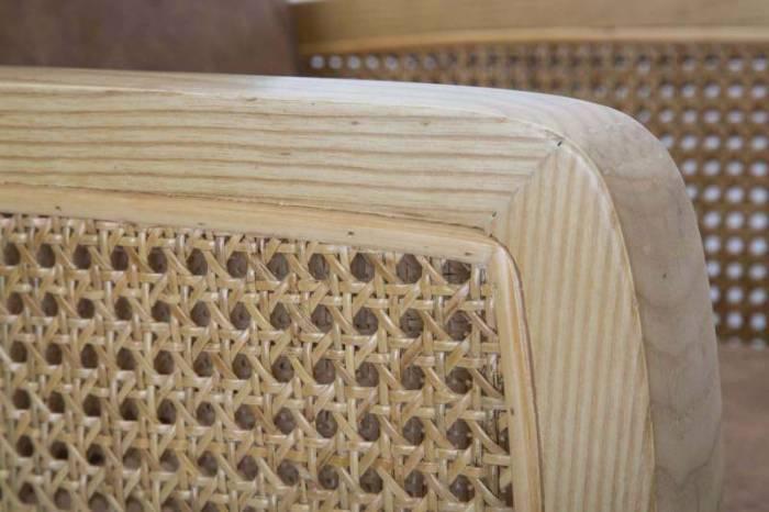 Fotoliu Vienna, 84x59x68 cm, lemn de arbore de cauciuc/ microfibra, maro