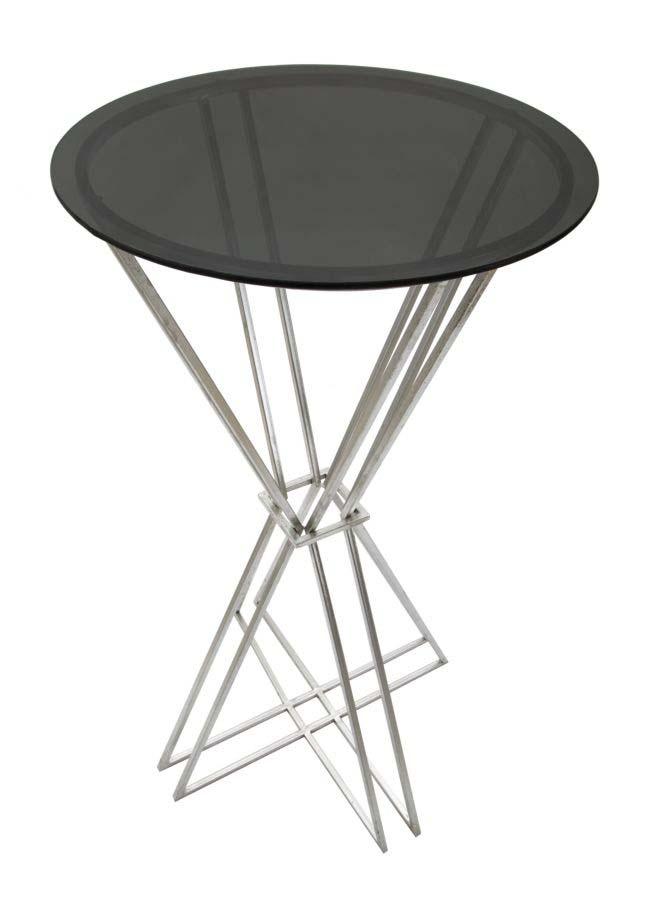 Masă de bar Oslo, 105x60x60 cm, metal/ sticla, argintiu/ negru