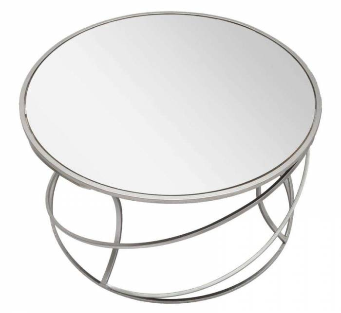 Masă de cafea Saturn, 45x80x80 cm, metal/ mdf/ sticla, argintiu