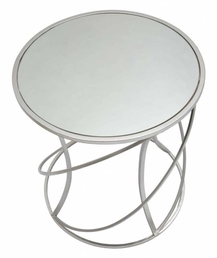 Masă Saturn, 55x50x50 cm, metal/ mdf/ sticlă, argintiu