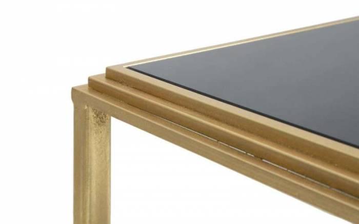 Măsuță de cafea Roman, 45x90x50 cm, metal/ mdf/ sticla, auriu/ negru