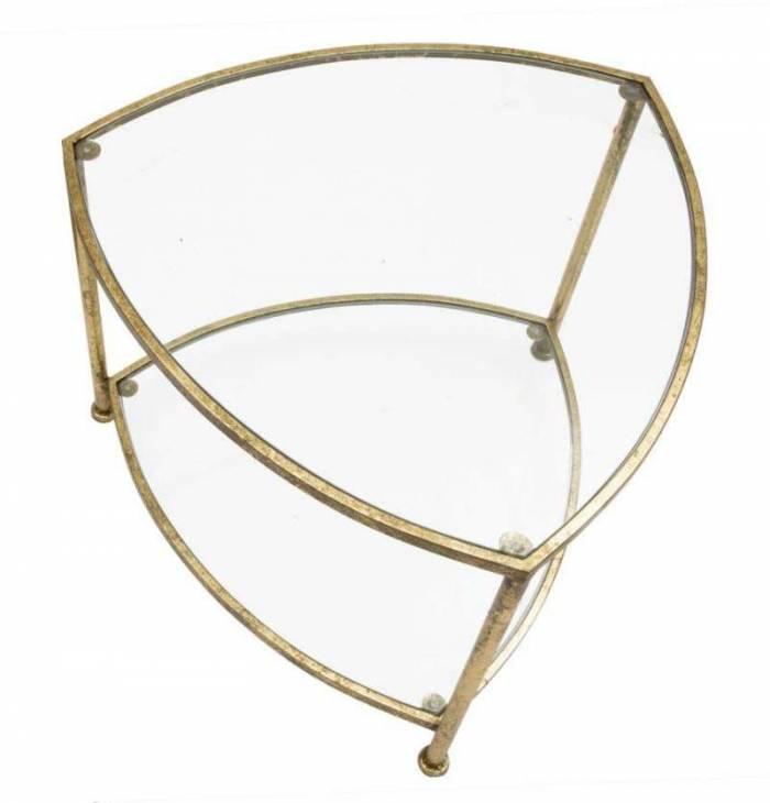 Masuță de cafea Triangle, 45x60x59 cm, metal/ sticla, auriu