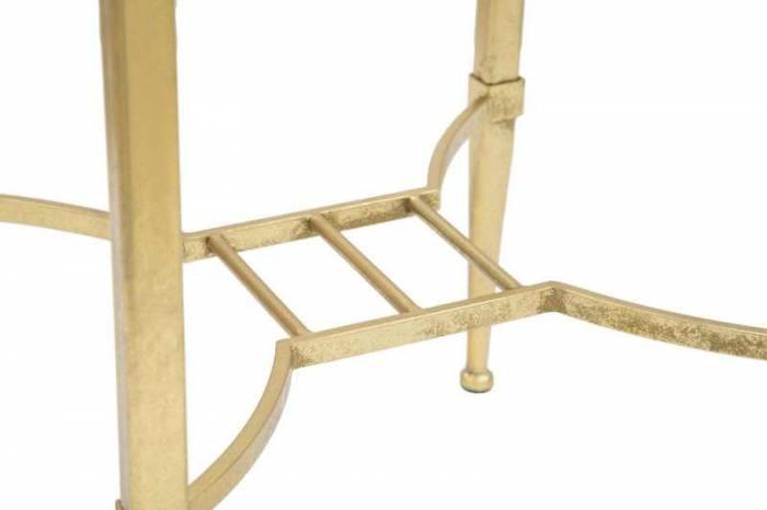 Măsuță pentru telefon Roman, 80x35x35 cm, metal/ mdf/ sticla, auriu/ negru