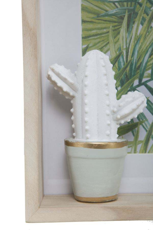 Ramă foto Cactus, 21x26x5.5 cm, mdf/sticla, alb