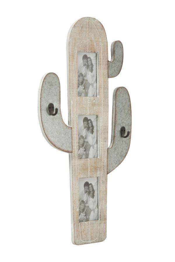 Ramă foto de perete Cactus, 71.5x39x3 cm, metal/ mdf, bej