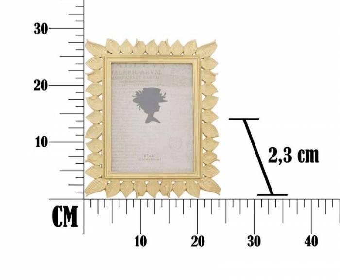 Ramă foto Leaf Glam, 28.3x23.5x1.8 cm, rasina, auriu