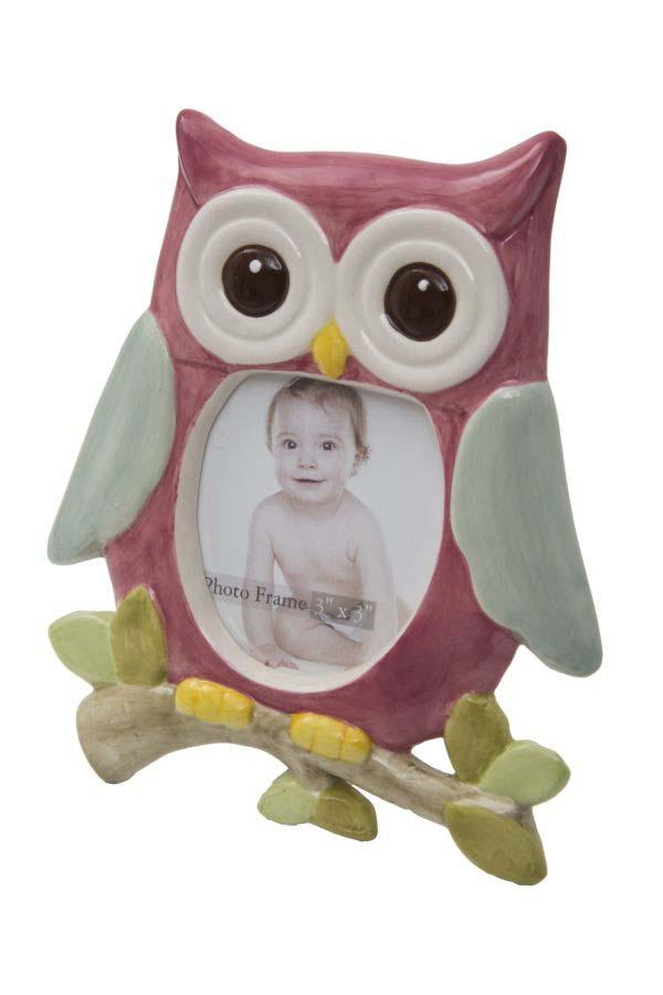 Ramă foto Owl, 16x13.7x2 cm, portelan/ sticla, multicolor