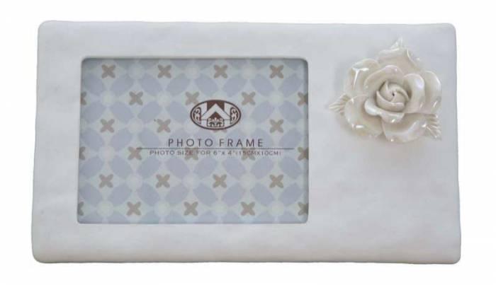 Ramă foto Porcelain, 13.7x23x3 cm, polirasina , alb