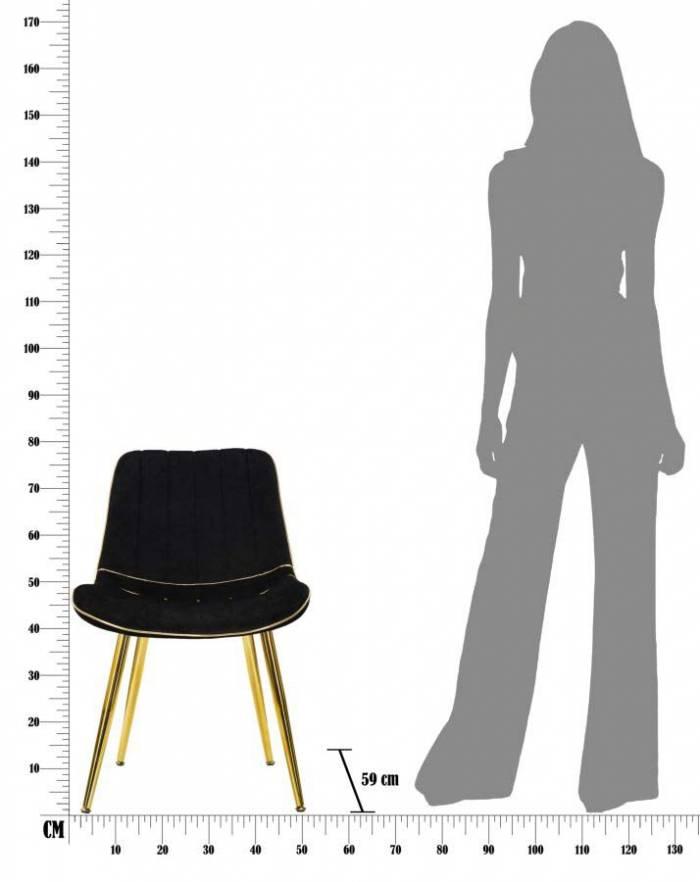 Set 2 scaune Paris, 79x51x59 cm, lemn de pin/ metal/ poliester, negru/ auriu