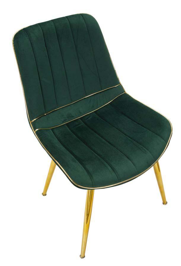 Set 2 scaune Paris, 79x51x59 cm, lemn de pin/ metal/ poliester, verde/ auriu