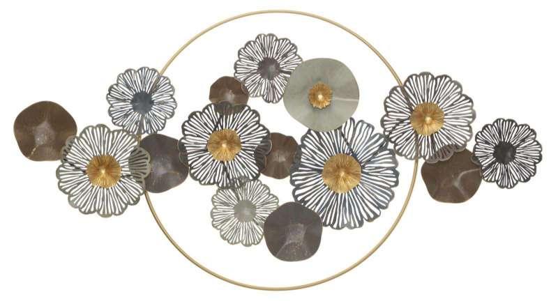 Decorațiune de perete Flower, 85x155x8,5 cm, metal, multicolor poza
