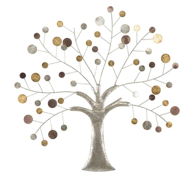 Decorațiune de perete Tree, 88x88x2,5 cm, metal, multicolor poza