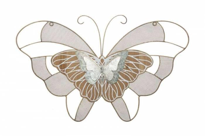 Decorațiune de perete Butterfly, 39x64,5x3 cm, metal, multicolor