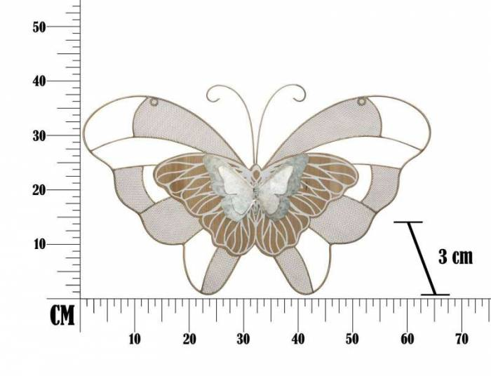 Decorațiune de perete Butterfly, 39x64,5x3 cm, metal, multicolor