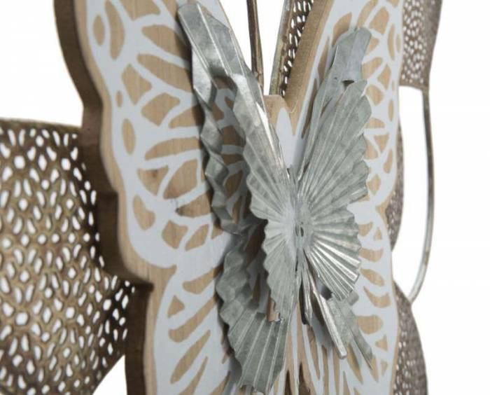 Decorațiune de perete Butterfly, 45,5x59,5x3 cm, metal, multicolor