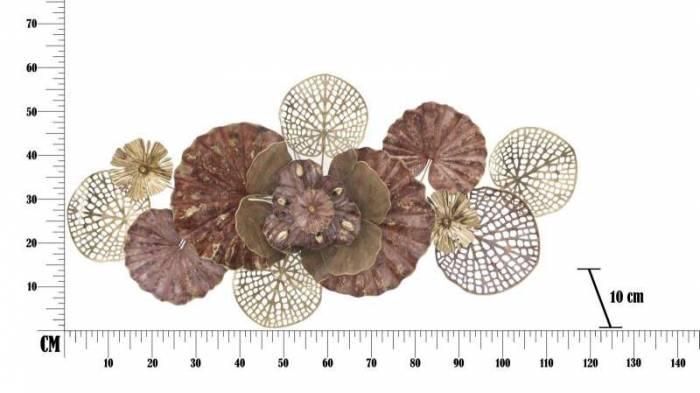 Decorațiune de perete Flowery, 58x118x10 cm, metal, multicolor