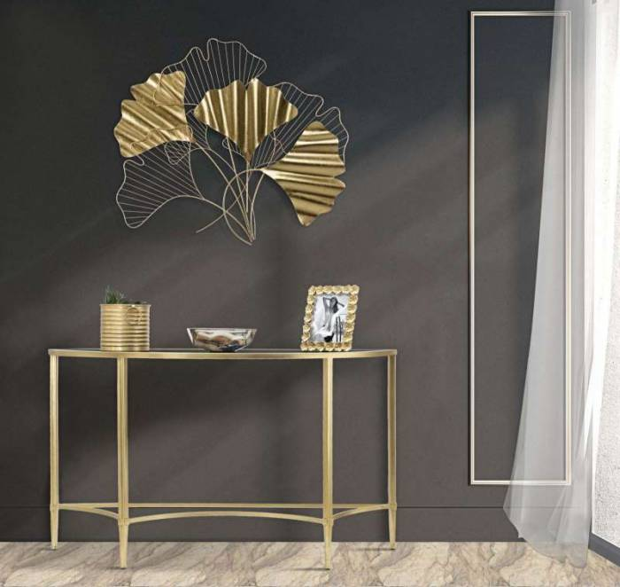 Decorațiune de perete Goxy, 70x80x2,5 cm, metal, auriu