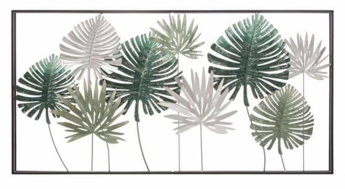 Decorațiune de perete Leaf, 68,5x134,5x9,5 cm, metal, multicolor