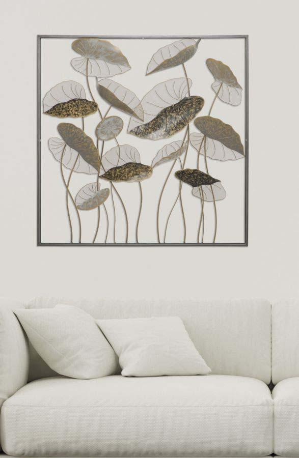 Decorațiune de perete Lotus, 100x100x8 cm, metal, multicolor