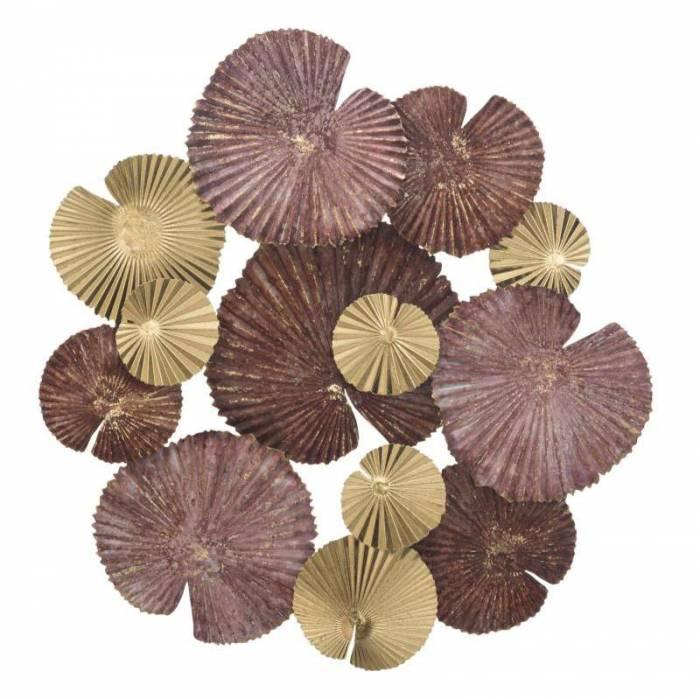 Decorațiune de perete Round Leaf, 66,5x68,5x6 cm, metal, multicolor