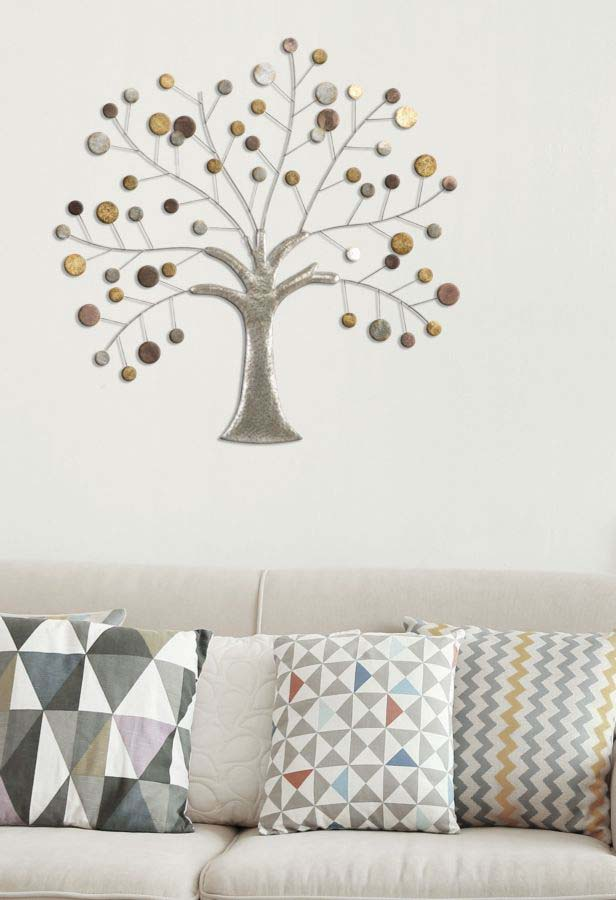 Decorațiune de perete Tree, 88x88x2,5 cm, metal, multicolor