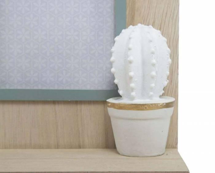 Ramă foto cu sertar Cactus, 31x20.5x8.5 cm, mdf/sticla, gri