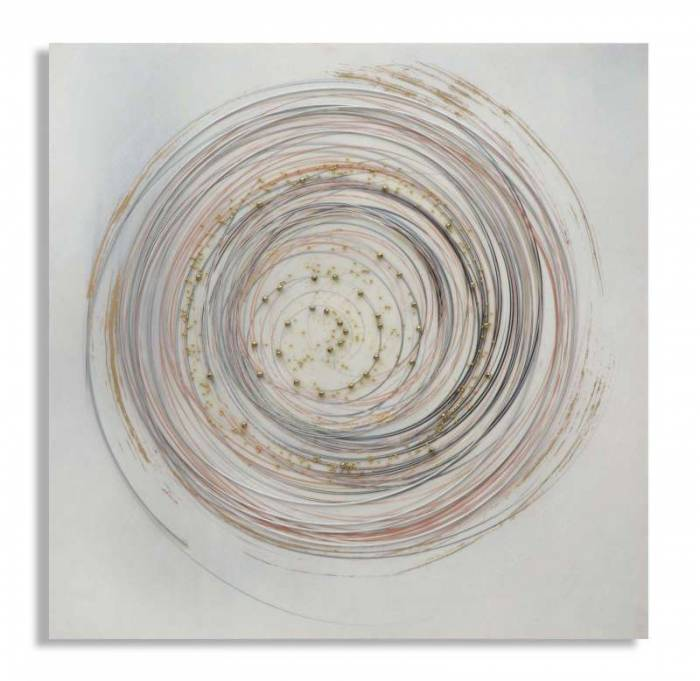 Tablou handmade Circle, 80x80x2,8 cm, lemn de pin/ canvas/ metal, multicolor