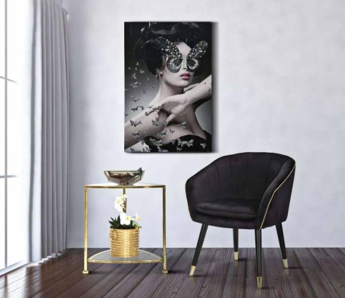 Tablou handmade Dark Lady, 120x80x3,8 cm, lemn de brad/ canvas, multicolor