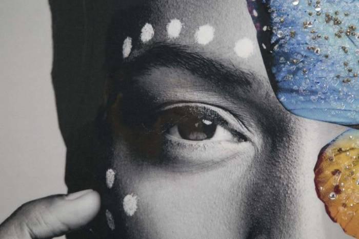 Tablou handmade Etnich, 120x80x3,8 cm, lemn de brad/ canvas, multicolor