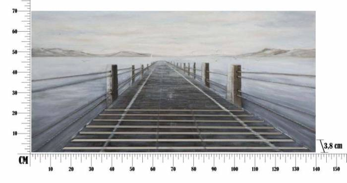 Tablou handmade Pier, 70x140x3,8 cm, lemn de pin/ canvas/ metal, multicolor