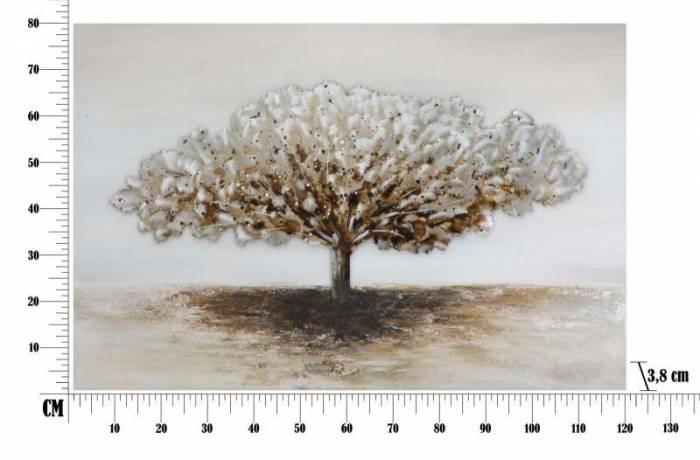 Tablou handmade Tree Alluminium, 80x120x3,8 cm, lemn de pin/ canvas/ metal, multicolor