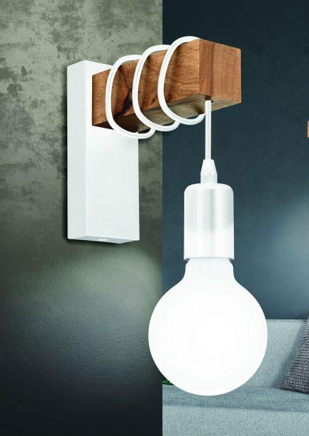 Aplică în stil scandinav Townshend, E27 1x10W, lemn/metal, maro/alb
