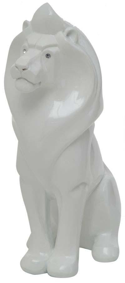 Decorațiune Leone, 39.5x26x12 cm, rasina, alb poza