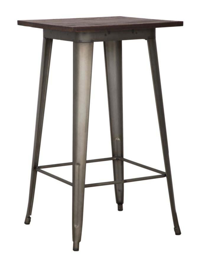 Masă de bar Detroit, 105x60x60 cm, metal/ lemn de ulm, gri/ maro poza