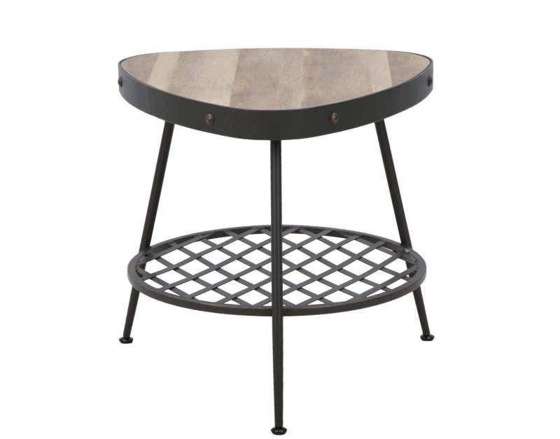 Masă de cafea Empire, 56x56x56 cm, metal/ mdf, negru/ maro poza