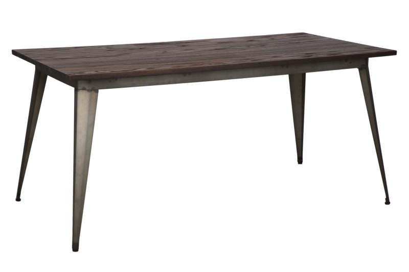 Masă de dining Detroit, 75x160x80 cm, metal/ lemn de ulm, maro poza