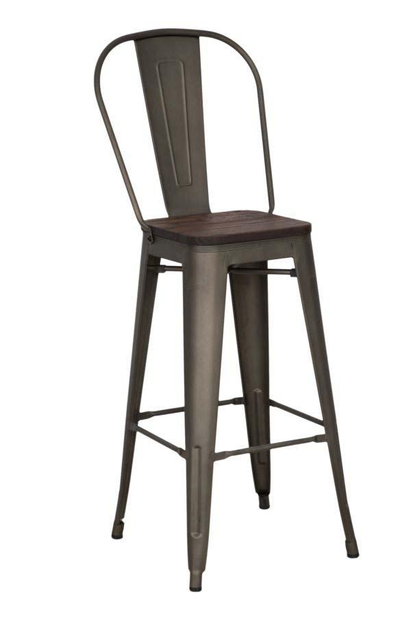 Scaun de bar Detroit, 115x46x44 cm, metal/ lemn de ulm, maro poza