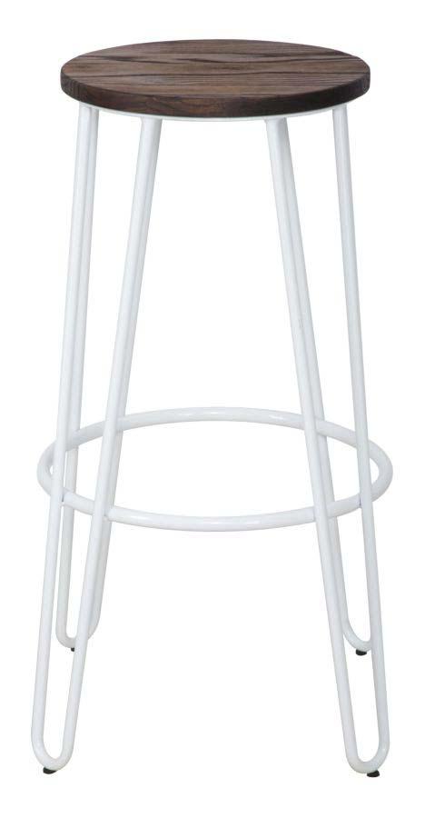 Set de două scaune de bar Detroit, 76x39x39 cm, metal/ lemn de ulm, alb/ maro poza