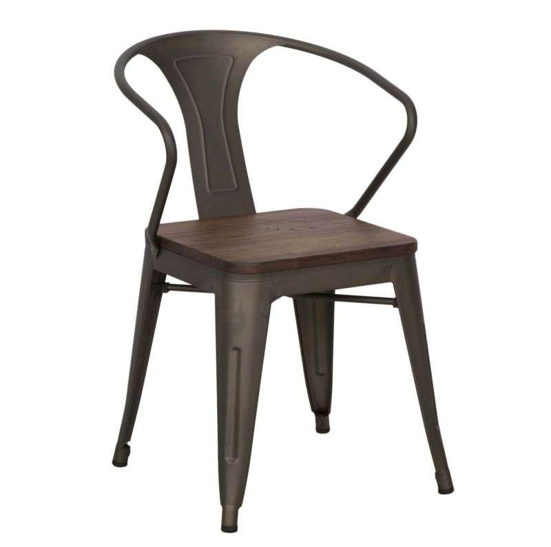 Set de două scaune Detroit, 80x56x51 cm, metal/ lemn de ulm, maro poza