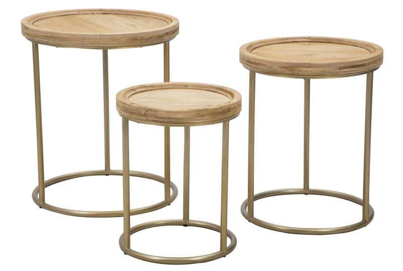 Set de trei masuțe de cafea Bianca, lemn de brad/ metal, maro/ crom poza