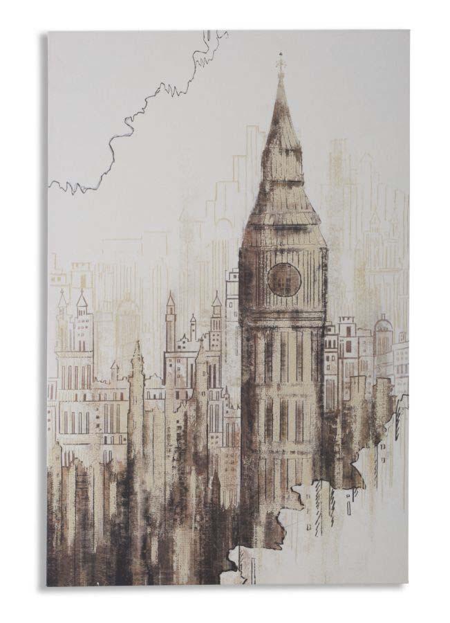 Tablou Big Ben, 90x60x3 cm, lemn de pin/ canvas, multicolor poza