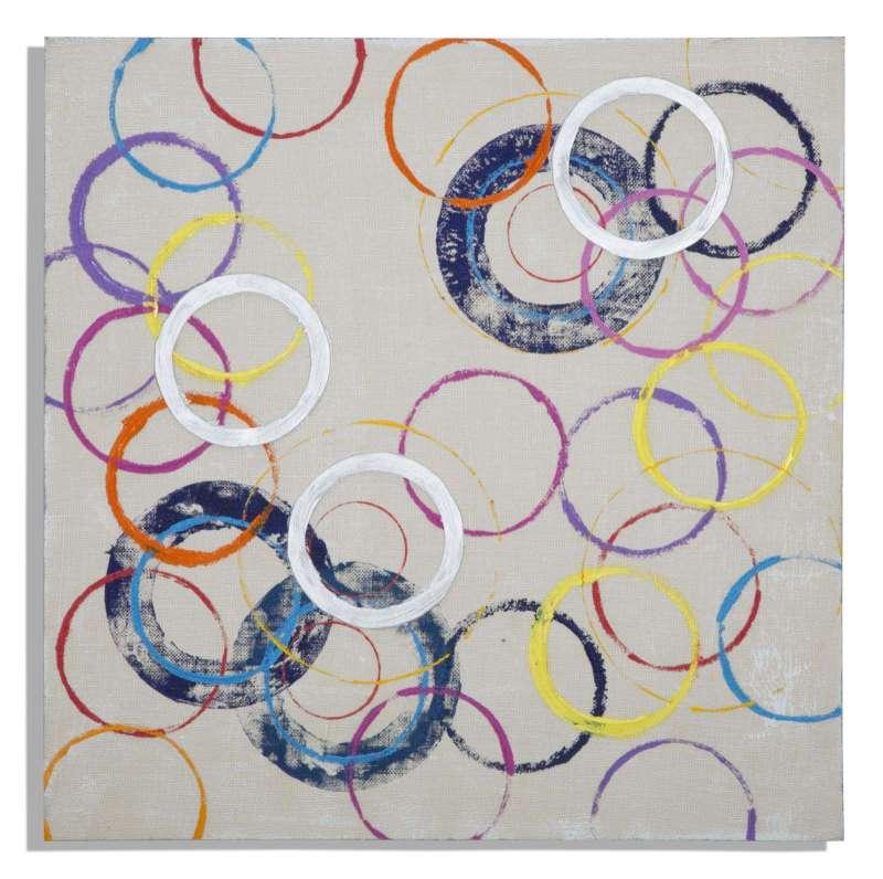 Tablou Circles , 80x80x3 cm, lemn de brad/ canvas, multicolor poza
