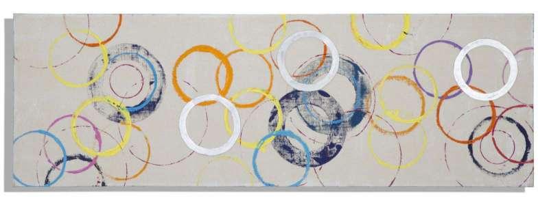 Tablou Floating Circles, 50x150x3 cm, lemn de brad/ canvas, multicolor poza
