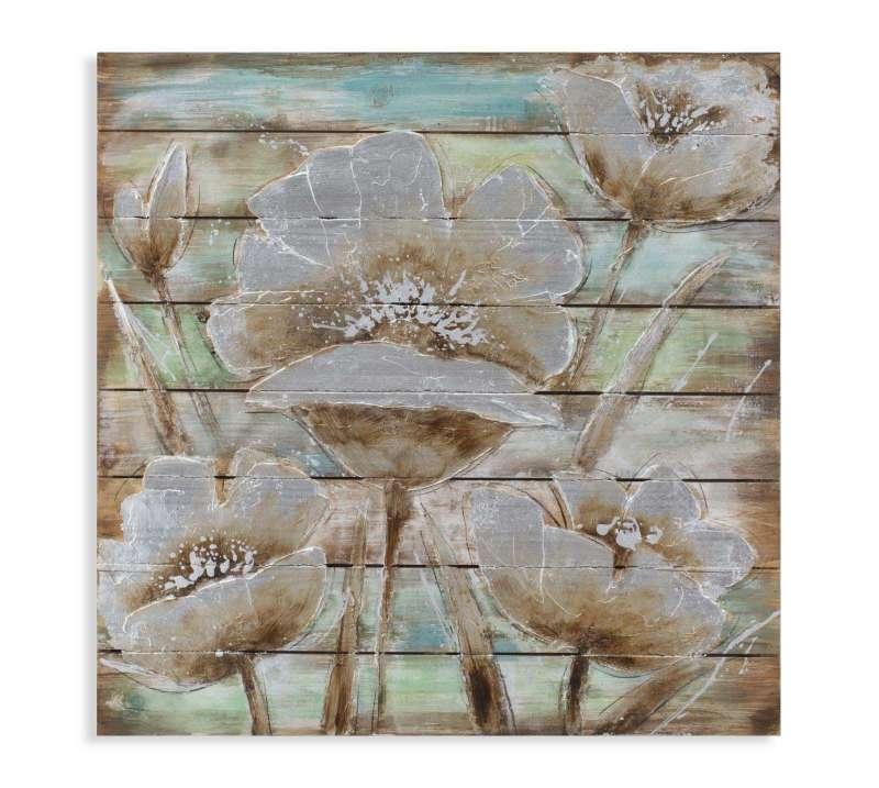 Tablou Flower in time, 80x80x4 cm, lemn de brad , multicolor poza